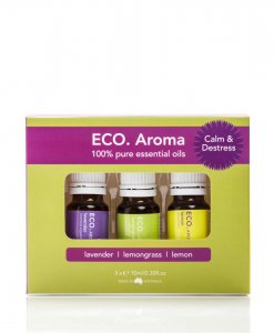 ECO. CALM & DESTRESS AROMA TRIO – LAVENDER, LEMONGRASS & LEMON