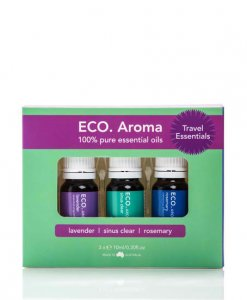ECO. AROMA TRIO TRAVEL ESSENTIALS – LAVENDER, SINUS CLEAR & ROSEMARY
