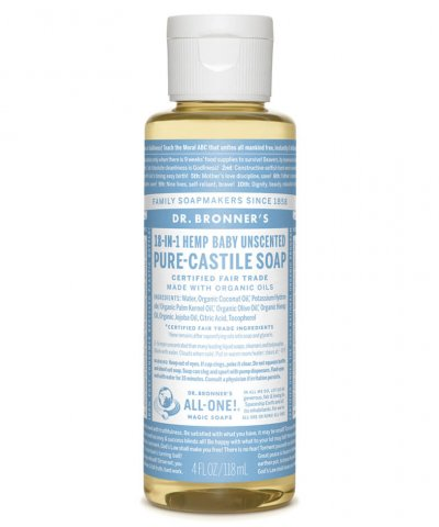 DR BRONNERS 18-IN-1 PURE CASTILE SOAP – BABY & SENSITIVE SKIN UNSCENTED