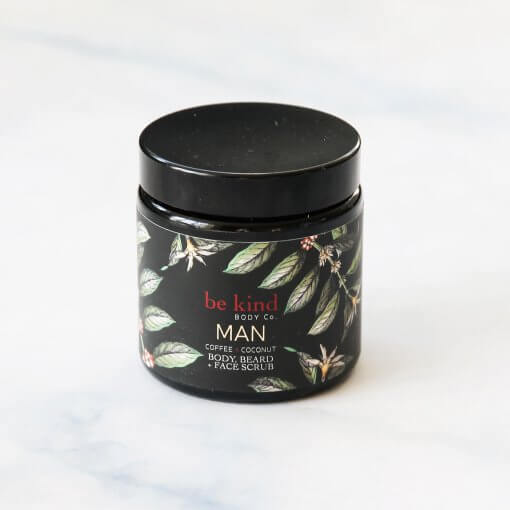 BE KIND BODY CO. 'MAN' COFFEE & COCONUT BODY, BEARD & FACE SCRUB