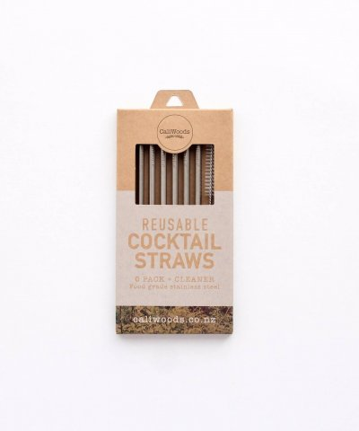 CALIWOODS REUSABLE COCKTAIL SHORT STRAWS – 6 PACK