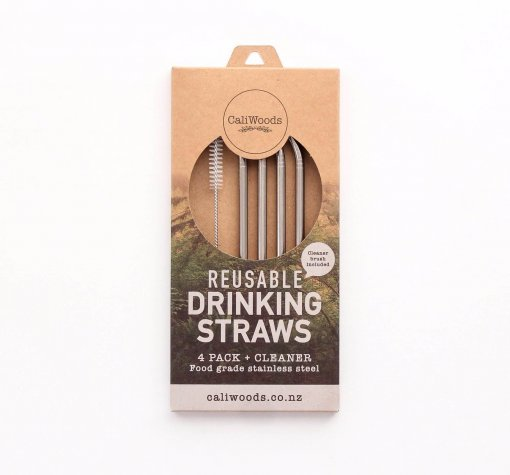 CALIWOODS REUSABLE DRINKING STRAWS – 4 PACK