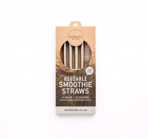 CALIWOODS REUSABLE SMOOTHIE STRAWS – 4 PACK