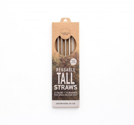 CALIWOODS REUSABLE TALL STRAWS – 4 PACK