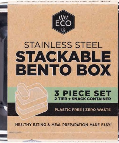 EVER ECO STACKABLE STAINLESS STEEL BENTO BOX 2 TIER + MINI CONTAINER – 1200ML