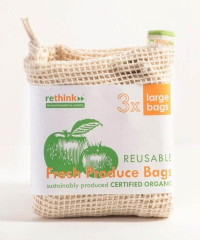 RETHINK REUSABLE PRODUCE BAGS – 3 PACK (LARGE)