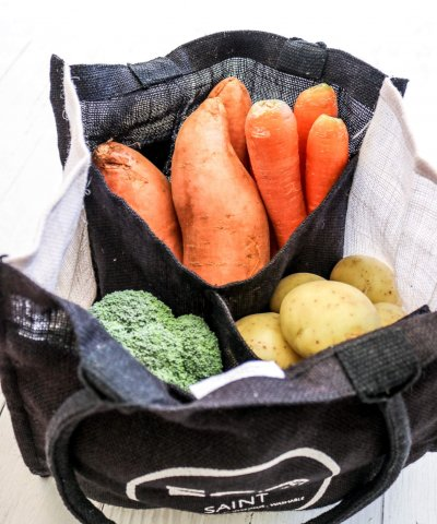 ECO SAINT REUSABLE SHOPPING TOTE WITH DIVIDER