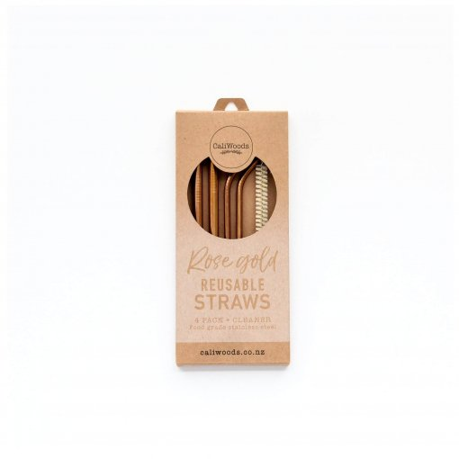 CALIWOODS REUSABLE DRINKING STRAWS MIXED PACK *ROSE GOLD*