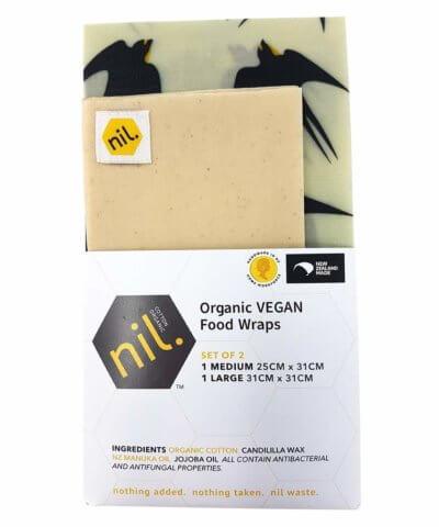 Nil Organic Vegan Reusable Food Wrap - Black Bird