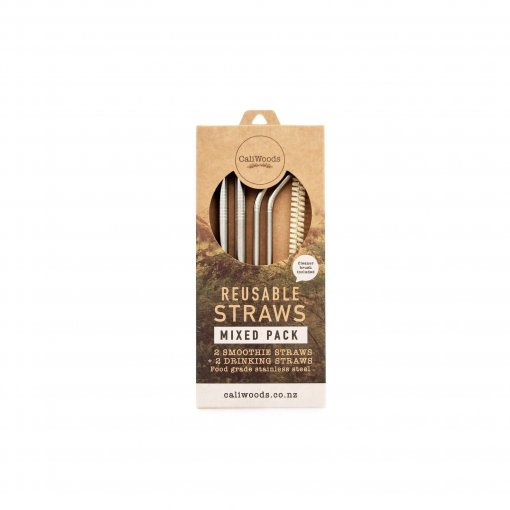 CALIWOODS REUSABLE STAINLESS STEEL STRAWS – MIXED PACK