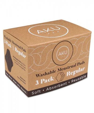 Aku regular reusable pads 3 pack box