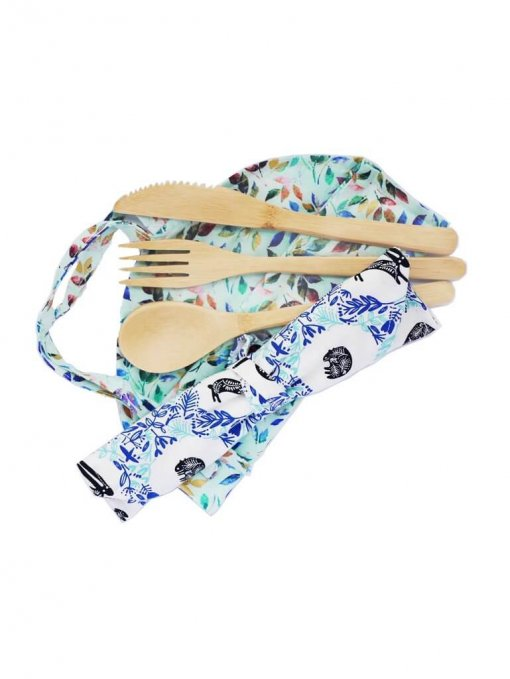 LILYBEE BAMBOO CUTLERY SET WITH HAND MADE BAG