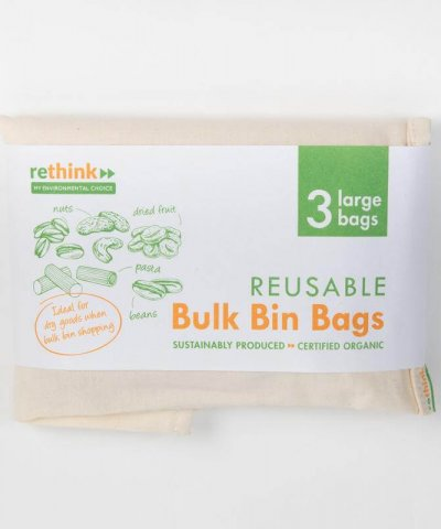 RETHINK REUSABLE BULK BIN BAGS LARGE – 3 PACK