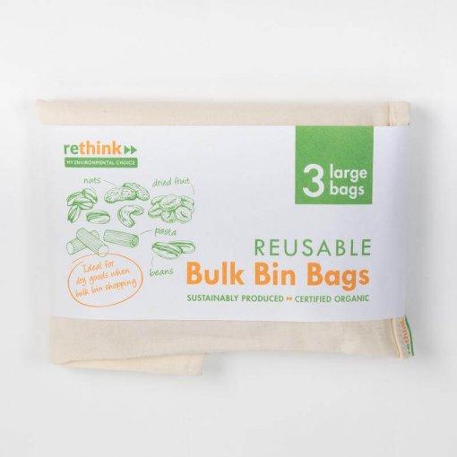 RETHINK REUSABLE BULK BIN BAGS LARGE – 3 PACK