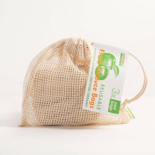 RETHINK REUSABLE PRODUCE BAGS MINI / SMALL – 3 PACK
