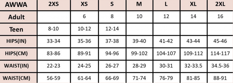 AWWA Period Underwear Sizing Chart