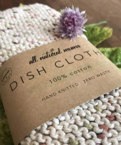 ALL NATURAL MUMS 100% COTTON COMPOSTABLE DISH CLOTHS – TWIN PACK
