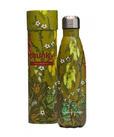 CHUNKY INSULATED STAINLESS STEEL DRINK BOTTLE – FLORA AOTEAROA BY LAURA SHALLCRASS