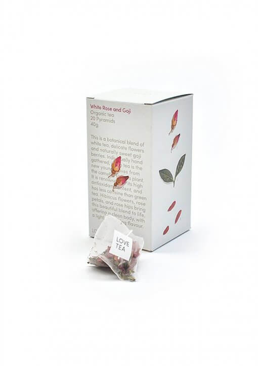 LOVE TEA WHITE ROSE AND GOJI PYRAMID TEA BAGS