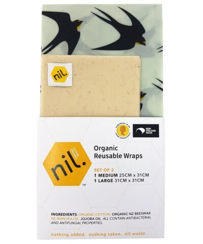 Nil Organic Reusable Beeswax Food Wraps - Black Bird